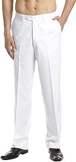 CONCITOR Men's Dress Pants Trousers Flat Front Slacks Solid WHITE Color