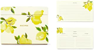 Kate Spade New York Women's Recipe Box Card Holder with Tabbed Dividers and 80 Recipe Cards Set, Lemon