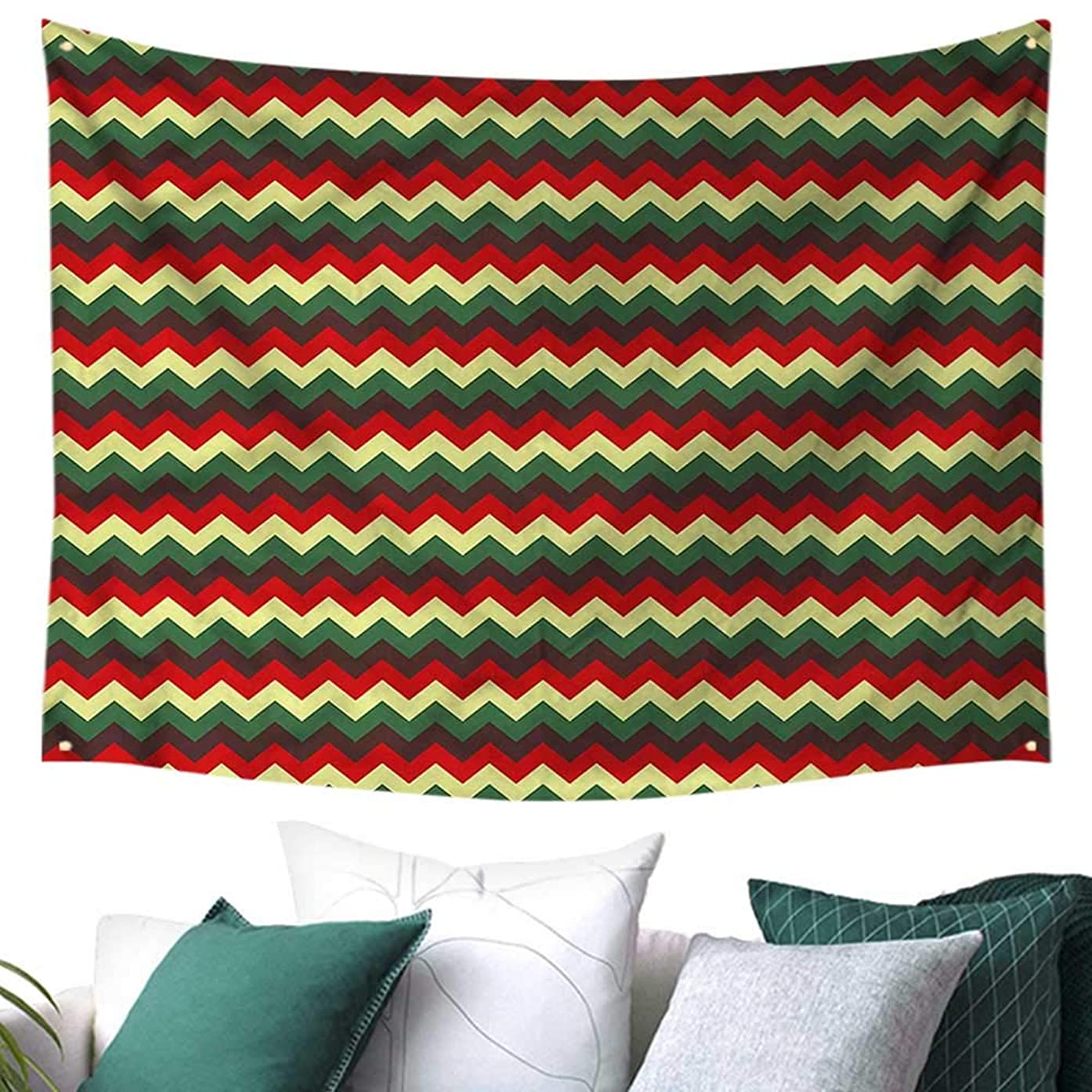 Chevron Square Tapestry Large Stripes and Zig Zags 80W x 60L Inch,Home Decorations for Living Room Bedroom