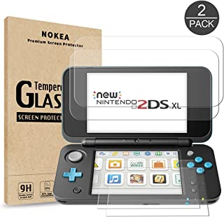 Nintendo 2DS XL 2017d Screen Protector, NOKEA [Glass Top + Glass Bottom] 9H Hardness Anti-Scratch Bubble Free Tempered Glass Screen Protector for New Nintendo 2DS XL 2017 (2 Pack)