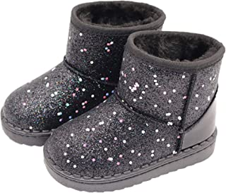 Girls Snow Boots,Girl's Warm Plush Comfortable Sequin Waterpoof Outdoor Winter Boots