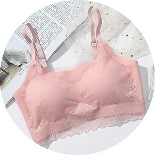 One Piece Bra Seamless Wireless Full Cup Bras Contrast Color Ice Silk Underwear,Pink,34