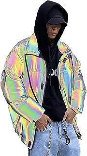 DUTUI Chaqueta reflectante de invierno para hombre con cara brillante, personalizada colorida y aterciopelada cálida chaqu...