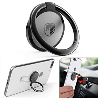 Phone Ring Holder Finger Kickstand - FITFORT 360 Rotation Metal Ring Grip for Magnetic Car Mount Compatible with All Smartphone-Gun Black
