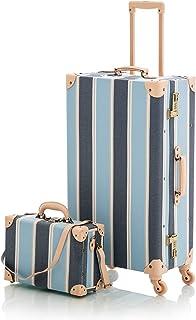"COTRUNKAGE Travel Vintage Luggage Set for Women with Spinner Wheels (13"" & 26"", Ske Blue)"