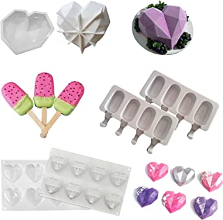 Heart Mold, Popsicle Molds, Diamond Heart Shaped Molds, Trays Non-Stick, Silicone Candy Molds - Break Apart Molds Candy Pr...