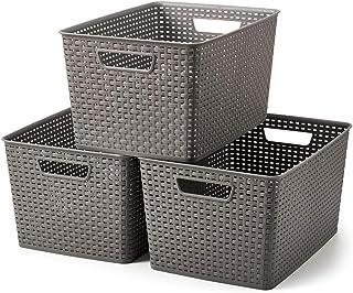 EZOWare Extra-Grand Panier de Rangement Ouvert en Plastique PP Tissé, Boîte de Rangement, Bac de Rangement pour Cuisine, S...