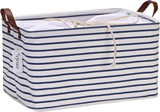 Hinwo 31L Large Capacity Storage Basket Canvas Fabric Storage Bin Collapsible Storage Box with PU Leather Handles and Drawstring Closure, 16.5 by 11.8 inches, Navy Blue Stripe