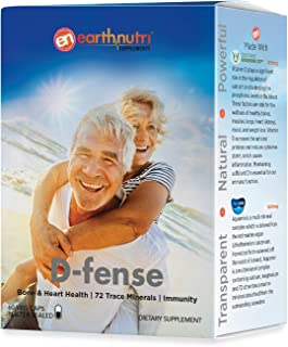 EarthNutri D-fense Bone & Heart Health, 72 Trace Minerals, Immunity // Vitamin D3 Vitashine, Calcium, Iron, and Magnesium ...