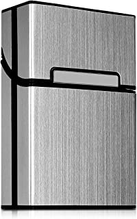 kwmobile Cigarette Case Box Holder - Aluminum Case for Cigarettes with Magnetic Flip Top Closure - Silver