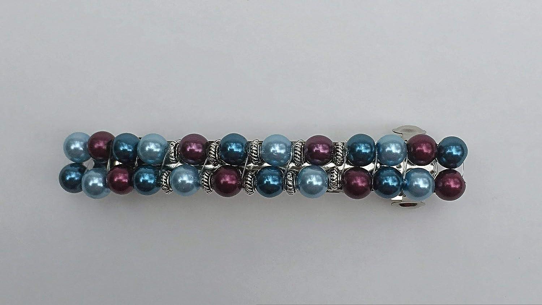 Elegant Blue Max 85% OFF Maroon Barrette Glass Pearl French Clasp Beaded Clip Bu