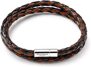 Men's Double Wrap Two-Tone Scoubidou Bracelet, Brown and Black Leather