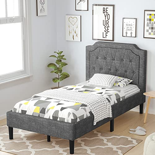 new arrival Giantex Twin Size Bed Frame, Upholstered Bed 2021 Base with Button Stitched Headboard, Bed Mattress Foundation with lowest Metal Frame & 10 Wooden Slat Support, No Box Spring Needed online