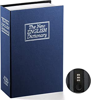 Book Safe with Combination Lock - Jssmst Home Dictionary Diversion Metal Safe Lock Box 2017, SM-BS0406L, navy large
