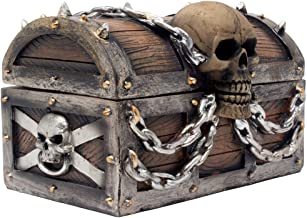 Evil Skull on Treasure Chest Trinket Box Statue with Hidden Storage Compartment for Decorative Gothic D?cor or Spooky Hall...
