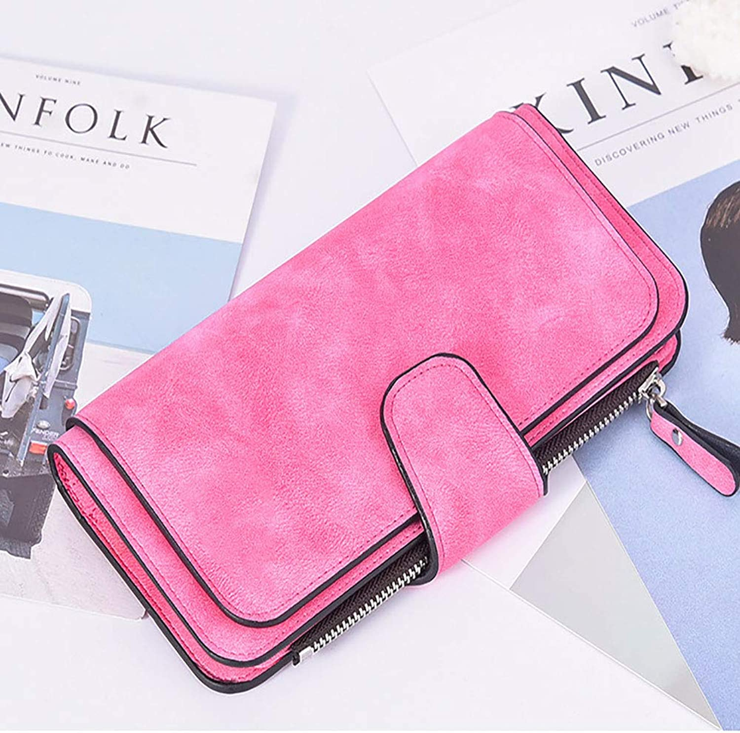 Leather Ladies Wallet, Large Capacity MultiFunctional Matte Design Buckle Card Bag Clutch Bag Card Wallet