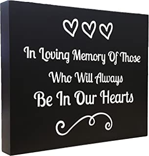 JennyGems Memorial Sign - in Loving Memory of Those Who Will Always Be in Our Hearts - Remembrance Sign - Wedding Memorial Sign for Memorial Table - in Memory of - Memorial Service Decoration