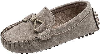 WUIWUIYU Garçons Filles Suède Cuir Chaussure Bateau Mocassins Slip on Style