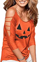 Womens Halloween Shirts Pumpkin 3/4 Sleeve Hollowed Out Shoulder Loose Tops Halloween Dress Up Party Costumes