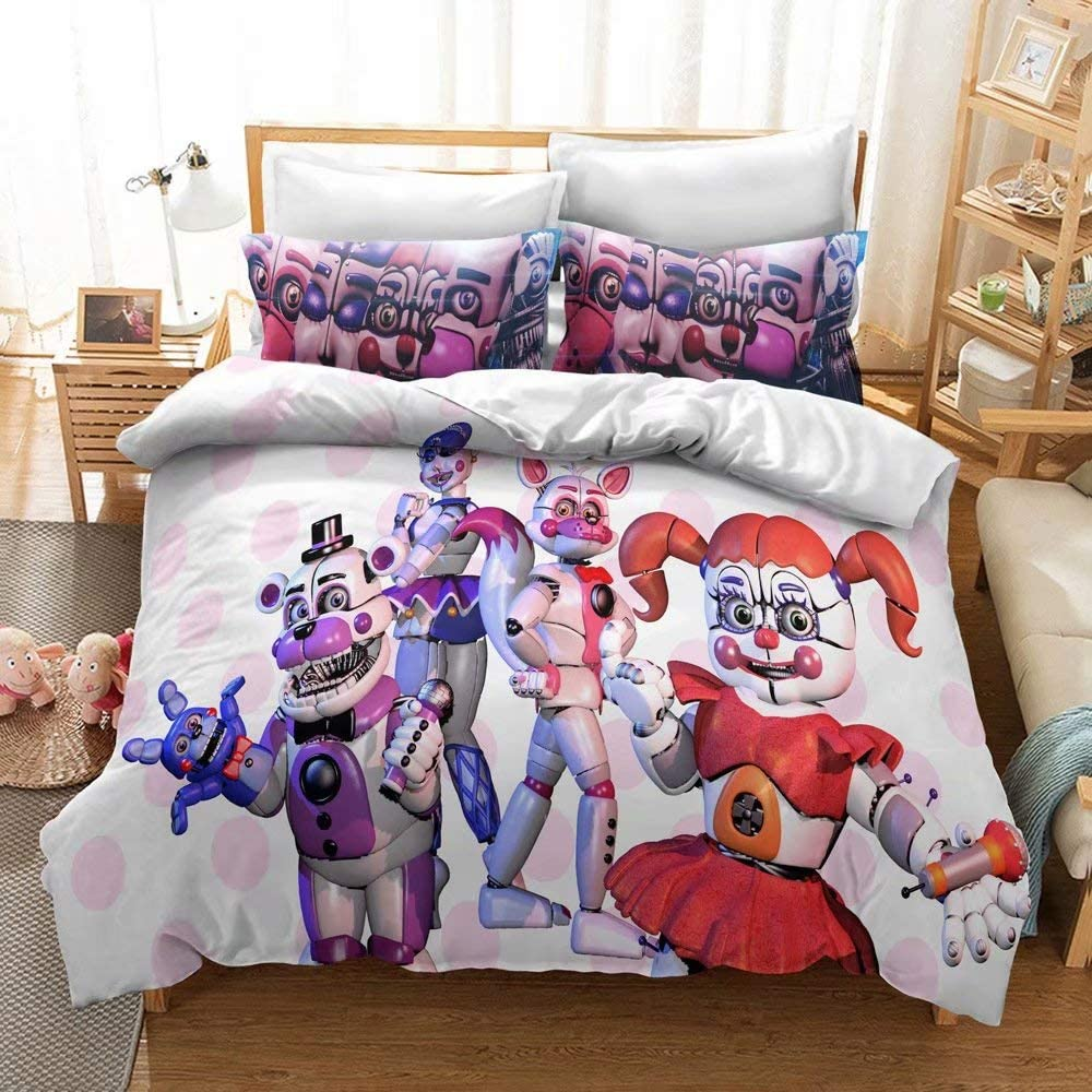 N/B Five Nights at Freddy's Duvet Cover Set Twin, 2 Pieces Cartoon Toy Bear Bedding Duvet Cover Sets, Kids Game Themed Bed Set