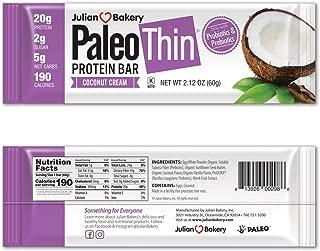 Paleo Protein Bar (Coconut Cream) 12 Bars (20g Egg White Protein) 5 Net Carbs (Organic Prebiotics / Probiotics)