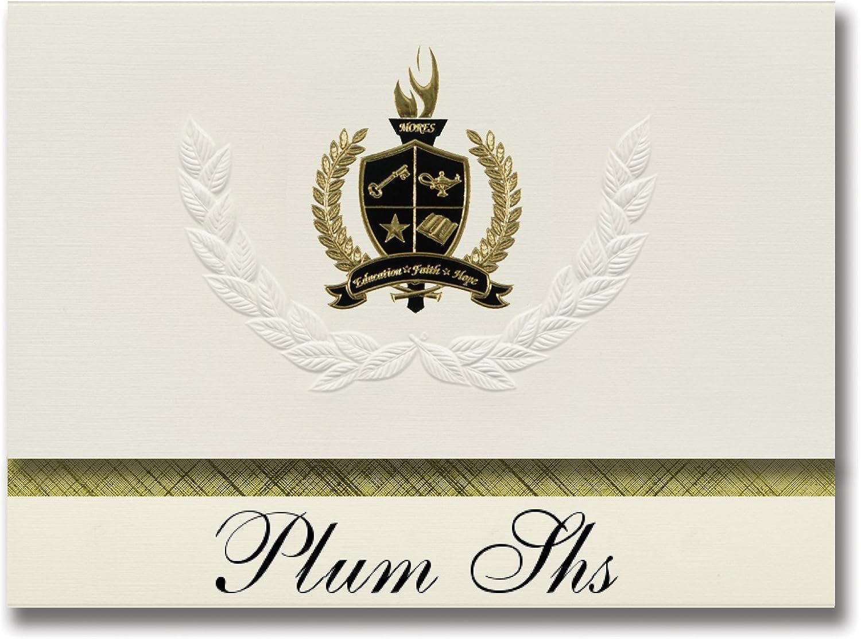 Signature Ankündigungen Pflaume SHS (Pittsburgh, PA) Graduation Ankündigungen, Presidential Stil, Elite Paket 25 Stück mit Gold & Schwarz Metallic Folie Dichtung B078VDMRR6   | Verkaufspreis