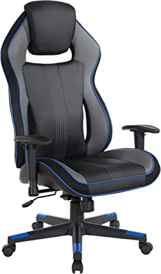 OSP Home Furnishings BOA II Adjustable Gaming Chair in Bonded Leather with Thick Padded Seat and Built-in Lumbar Support, Blue Accents
