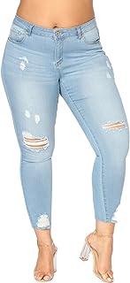 4f1b743c3cff5 Misscat Womens Juniors Distressed Ripped Jeans Boyfried Skinny Denim Long  Pants