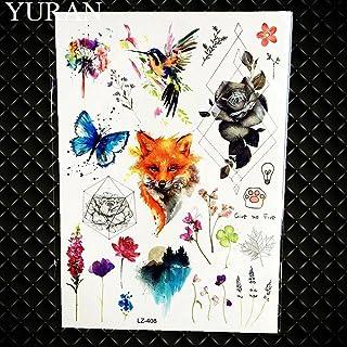 Universum Tijdelijke Tattoo Kids Man Man Vrouw Cartoon Sticker Waterdichte Tattoo Aquarel Vos Bloem Decal-GLZ408