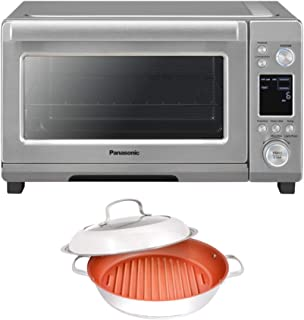 Panasonic Compact 1750 Watt High Speed Convection Toaster Oven Bundle with Nuwave Ceramic BBQ Grill Pan (2 Items)