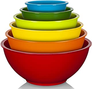 YIHONG 6 Pcs Plastic Mixing Bowls Set, Colorful Serving Bowls for Kitchen, Ideal for Baking, Prepping, Cooking and Serving...