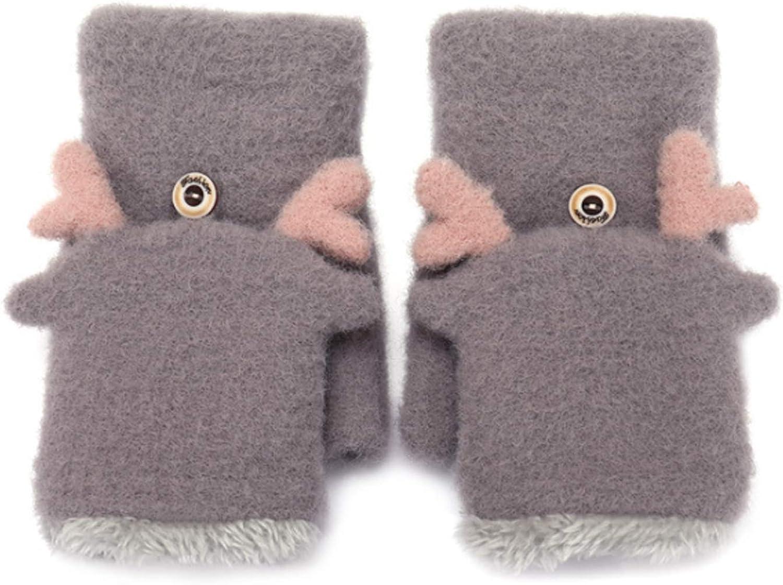 Girls Winter Convertible Mittens Cute Deer Antlers Fleece Lined Warm Flap Cover Gloves Mitten for Women Kids Teens
