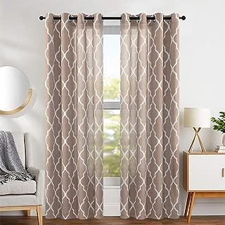 jinchan Linen Curtains Flax Linen Blend Textured Curtain Moroccan Tile Print Window Curtain Drapes Set for Living Room Lattice Quatrefoil 50
