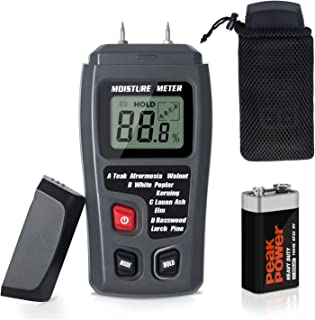 Moisture Meter TyhoTech Wood Moisture Detector LCD Damp Moisture Tester with 2 Test Probe Pins for Acuurately Measuring the Percentage of Water in Walls Firewood Paper Floor Cordwood and Trees