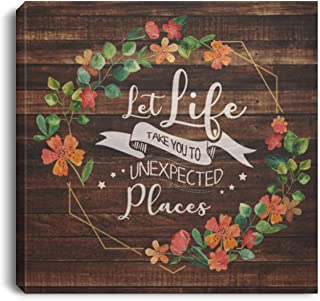 Let Life Take You To Unexpected Places Floral Framed Canvas Prints - Unframed Poster - Home Decor Wall Art, 12