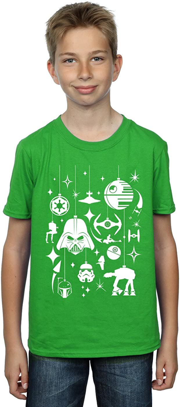 STAR WARS Boys Christmas Decorations T-Shirt 7-8 Years Irish Green