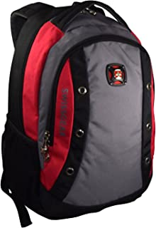 "SwissGear 16"" Padded Laptop Backpack/School Travel Bag (Black-Red-Grey)"