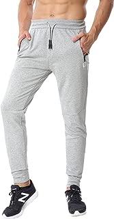 ChinFun Men's Tapered Athletic Running Pants Slim Fit Close Bottom Jogger Sweatpants Zipper Pockets M-XXXXL