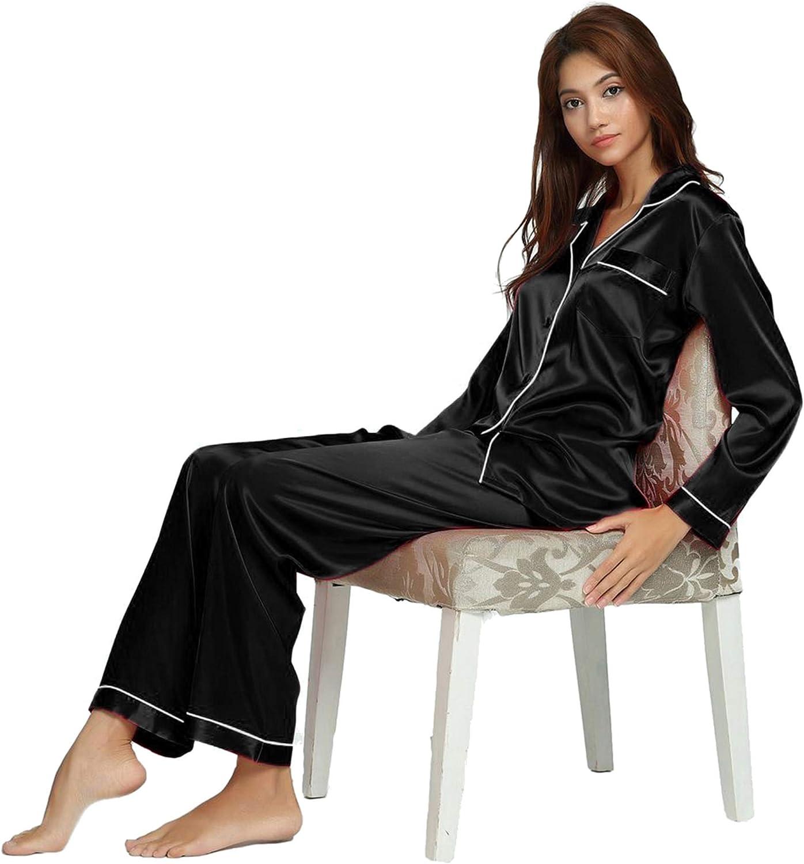 LONXU Donna Raso di seta Pigiama Set biancheria da notte Loungewear