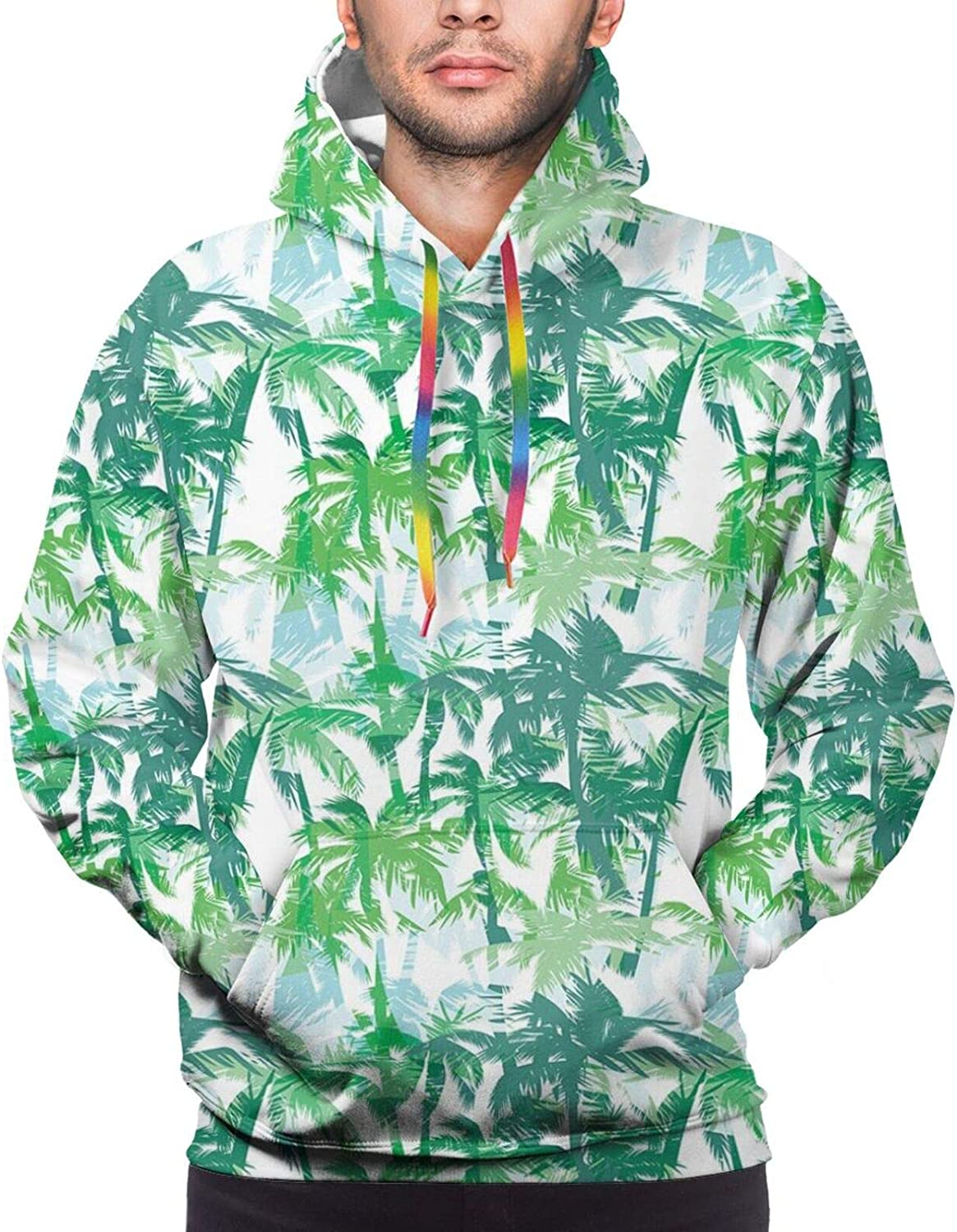Men's Hoodies Sweatshirts,Exotic Cuban Beach with Wind Surfing Boat and Waves Tropic Coastal Picture