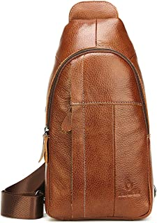 Genuine Leather Sling Bag For Men Women Sling Backpack with Charging Port Crossbody Backpack For Travel - Brown