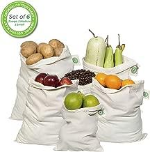 有机棉可重复使用的细布产品袋 天然棉 2 Large, 2 Medium, 2 Small OCM10001