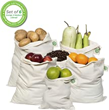 Reusable Produce Bags Cotton Washable - Organic Cotton Vegetable Bags - Cloth Bag with Drawstring - Muslin Cotton Fabric Produce Bags - Bread Bag - Set of 6 (2 Large, 2 Medium, 2 Small)