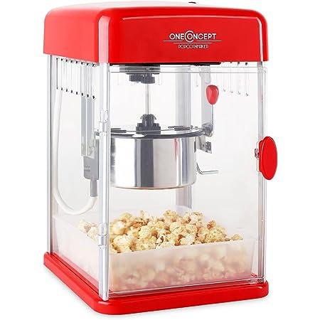 oneConcept Rockkorn - Machine à popcorn, Machine à maïs soufflé, Design rétro des années 50, Bras mélangeur de 350 watts, temps de chauffe court, éclairage intérieur, bol en acier inox, rouge