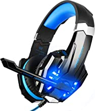 BlueFire Stereo Gaming Headset for PS4, PC, Xbox One Controller, Noise Cancelling Over Ear Headphones with Mic, LED Light, Bass Surround, Soft Memory Earmuffs for Laptop Nintendo Switch Games (Blue)