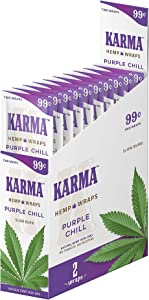 Karma Hemp – Natural Hemp Wraps – Non GMO – 2 Wraps Per Pack – 25 Pack Display (Purple Chill)