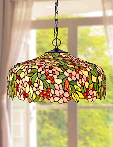 Amazon Com Ht Tiffany Styled Hanging Pendant Lamp 20 Inch Wide Apple Flower Stained Glass Lampshade 3 Light Chandelier Ceiling Fixture Decor Kitchen Restaurant Corridor Bedroom Living Room Terrace Bar Home Improvement