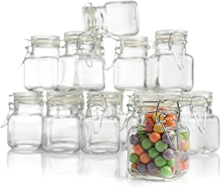 3 oz Small Glass Jars With Airtight Lids, Glass Spice Jars - Leak Proof Rubber Gasket and Hinged Lid for Home and Kitchen,...