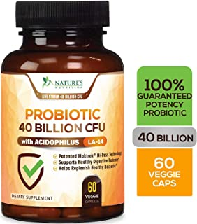 Probiotic 40 Billion CFU. Guaranteed Potency Until Expiration - 15x More Effective Patented Delay Release Lactobacillus Acidophilus - Made in USA - Digestive Health for Women & Men - 60 Capsules