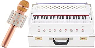 Makan Musicals Bass Reed & Male Reed White Color, 9 Stops, 3 1/2 Octave, Coupler, Tuned to A440, Comes with Book & Bag, Indian Instrument Hand Pumped Harmonium